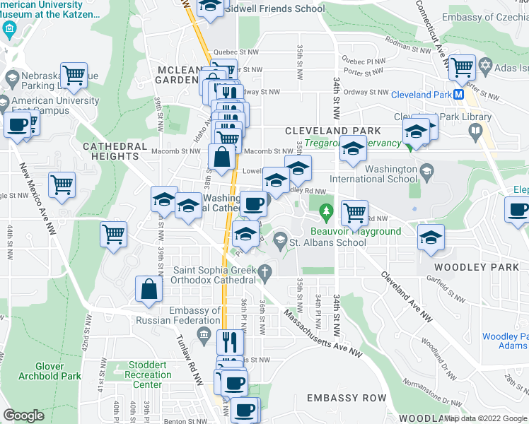 map of restaurants, bars, coffee shops, grocery stores, and more near 3101 Wisconsin Avenue in Washington
