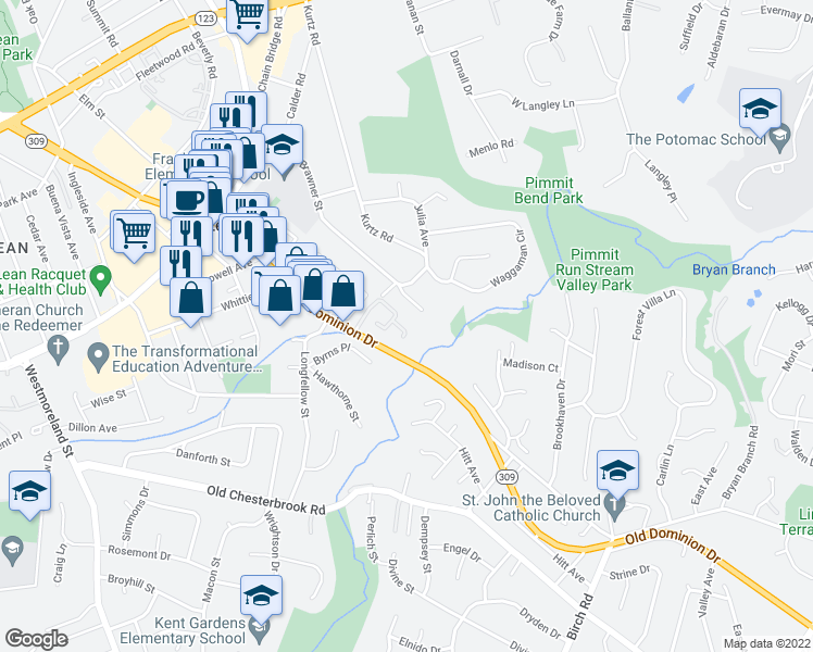map of restaurants, bars, coffee shops, grocery stores, and more near 6624 McLean Court in McLean