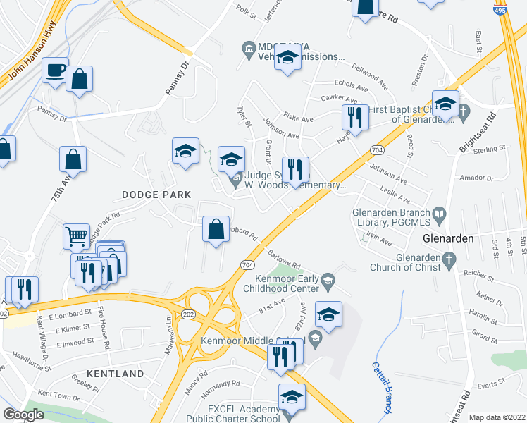 map of restaurants, bars, coffee shops, grocery stores, and more near 7810 Martin Luther King Junior Highway in Glenarden