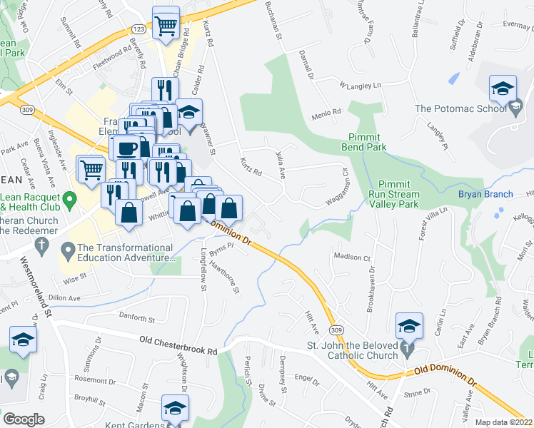 map of restaurants, bars, coffee shops, grocery stores, and more near 6677 McLean Dr in McLean