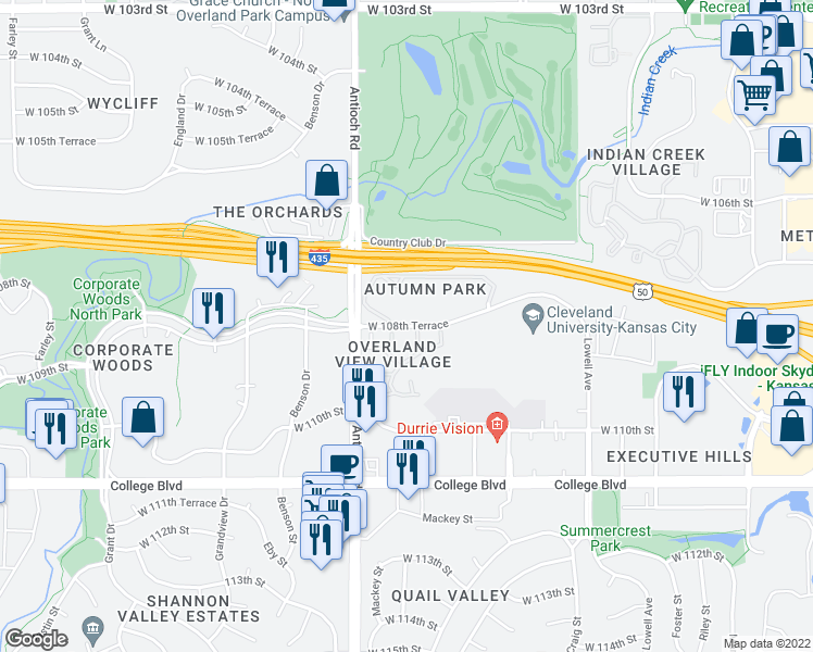 map of restaurants, bars, coffee shops, grocery stores, and more near West 108th Terrace in Overland Park