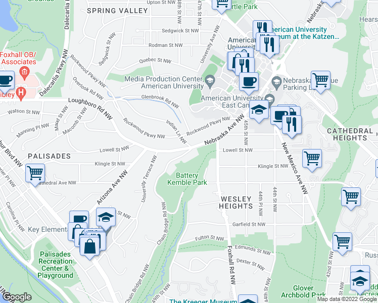 map of restaurants, bars, coffee shops, grocery stores, and more near 3131 Chain Bridge Road Northwest in Washington