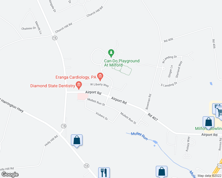 map of restaurants, bars, coffee shops, grocery stores, and more near 100 Delaware Veterans Boulevard in Milford