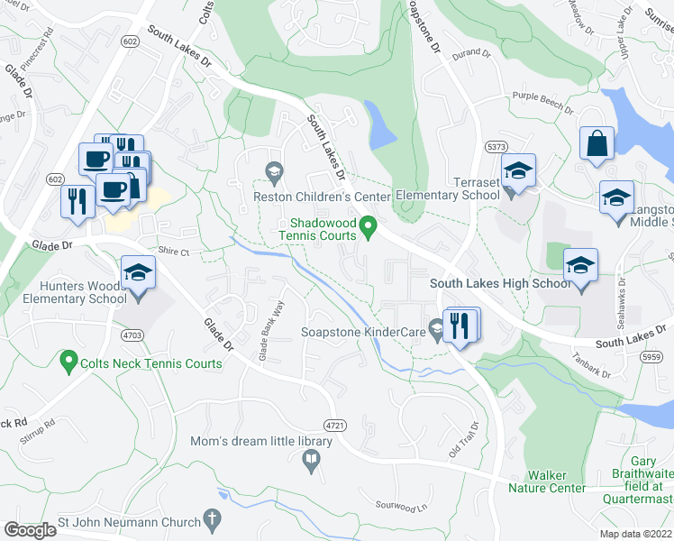 map of restaurants, bars, coffee shops, grocery stores, and more near 11709 Karbon Hill Court in Reston