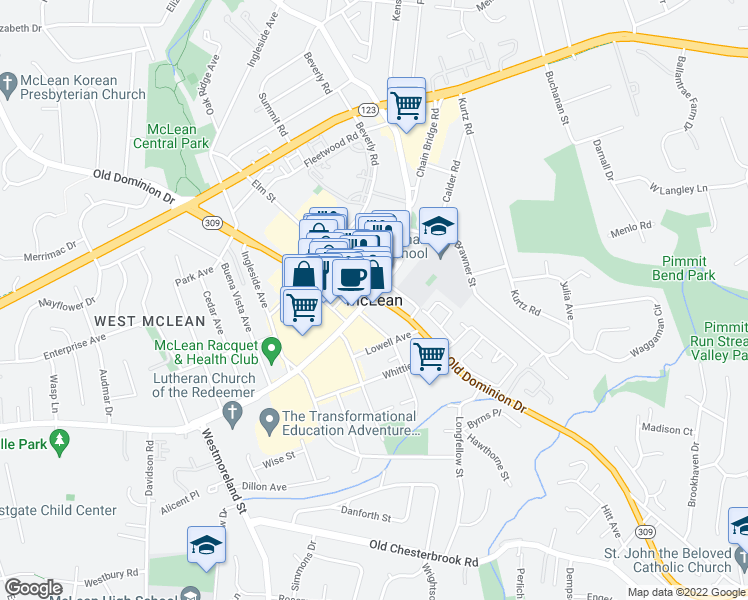 map of restaurants, bars, coffee shops, grocery stores, and more near in McLean