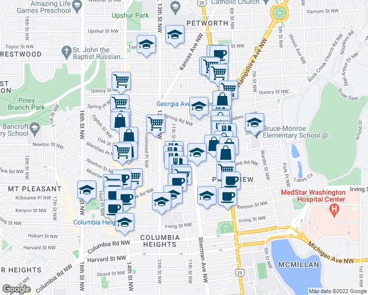 map of restaurants, bars, coffee shops, grocery stores, and more near 3534 10th Street Northwest in Washington
