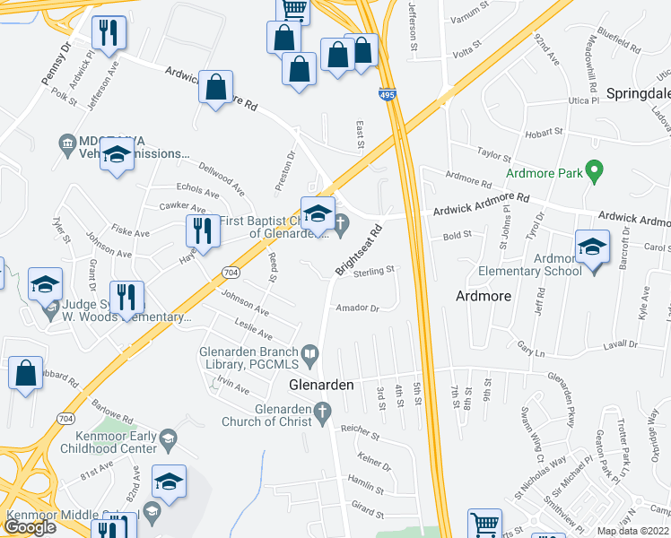 map of restaurants, bars, coffee shops, grocery stores, and more near 8803 Sterling Street in Hyattsville