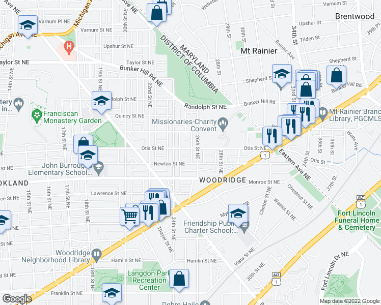 map of restaurants, bars, coffee shops, grocery stores, and more near 2427 Otis Street Northeast in Washington