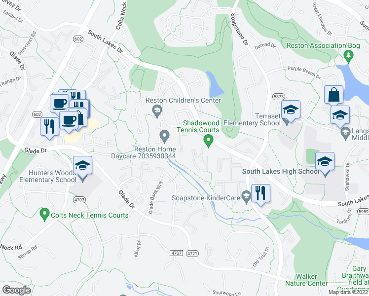 map of restaurants, bars, coffee shops, grocery stores, and more near 2257 Wheelwright Court in Reston