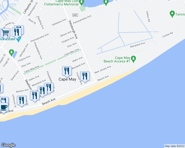 map of restaurants, bars, coffee shops, grocery stores, and more near 107 Pittsburgh Avenue in Cape May