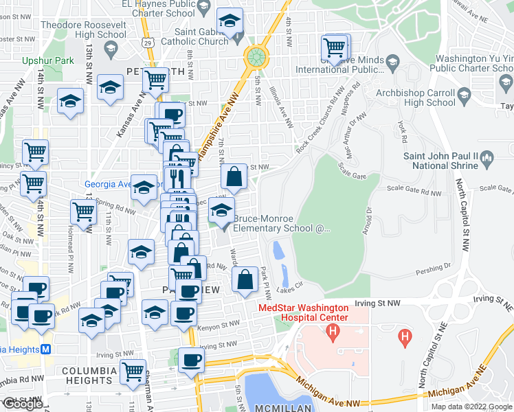 map of restaurants, bars, coffee shops, grocery stores, and more near Park Pl NW & Princeton Pl NW in Washington