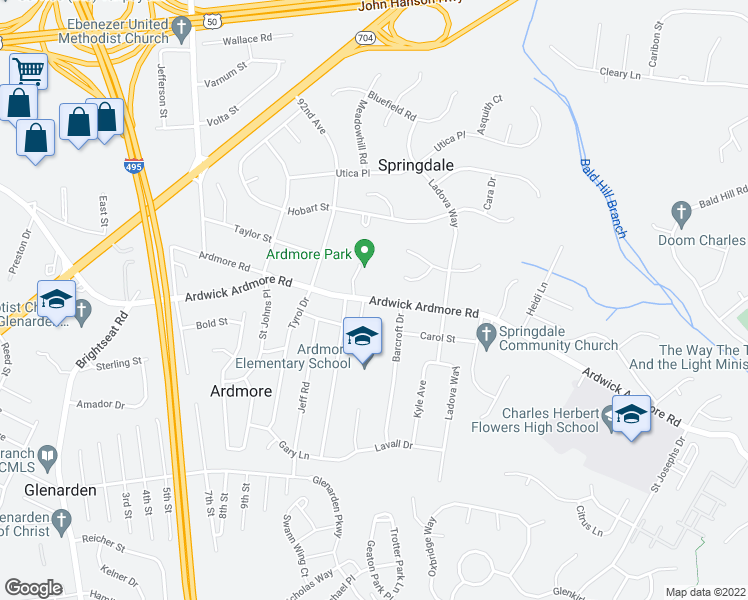 map of restaurants, bars, coffee shops, grocery stores, and more near 9234-9398 Ardwick Ardmore Road in Glenarden