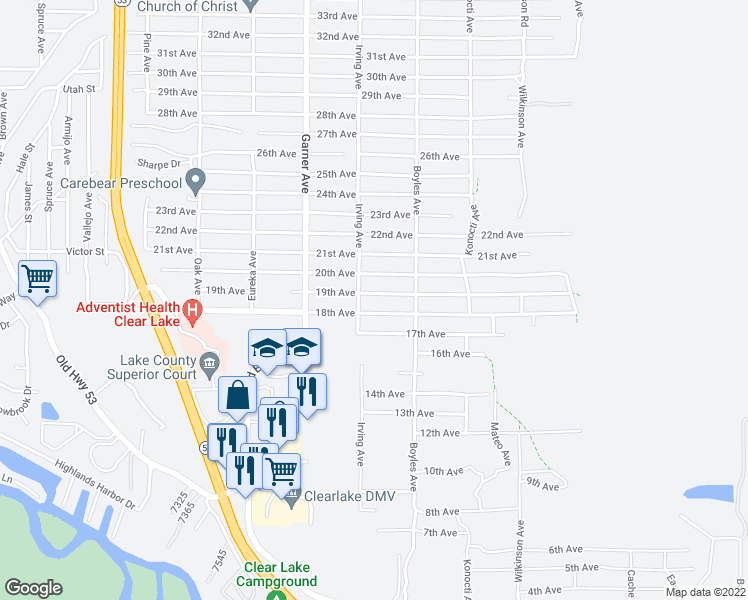 map of restaurants, bars, coffee shops, grocery stores, and more near 16035 19th Avenue in Clearlake