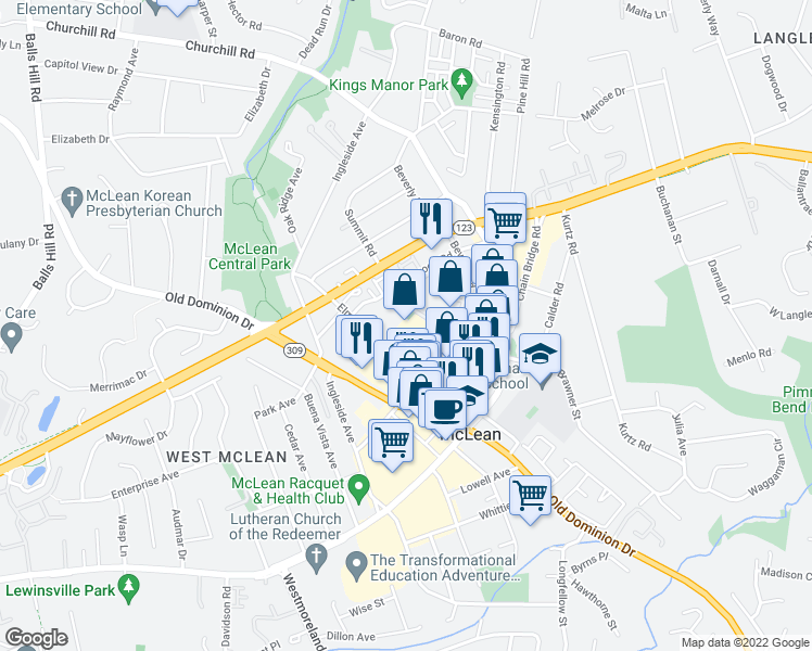 map of restaurants, bars, coffee shops, grocery stores, and more near 1310 Vincent Place in McLean
