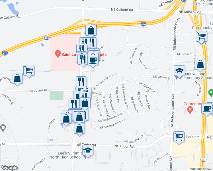map of restaurants, bars, coffee shops, grocery stores, and more near 228 Northeast Victoria Place in Lee's Summit