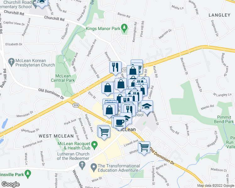 map of restaurants, bars, coffee shops, grocery stores, and more near 1350 Beverly Road in McLean
