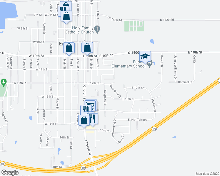 map of restaurants, bars, coffee shops, grocery stores, and more near 1205 Blue Stem Drive in Eudora