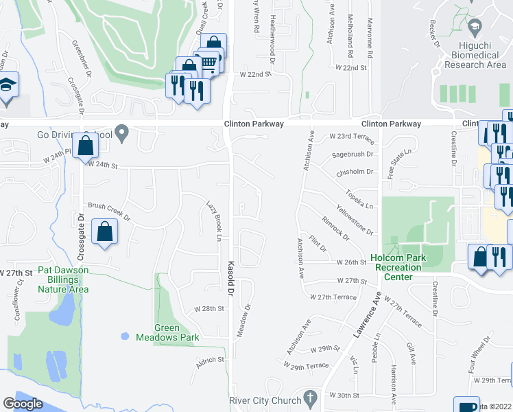 map of restaurants, bars, coffee shops, grocery stores, and more near 2400 Yosemite Dr in Lawrence