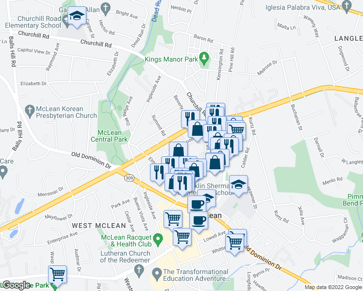 map of restaurants, bars, coffee shops, grocery stores, and more near Fleetwood Road in McLean