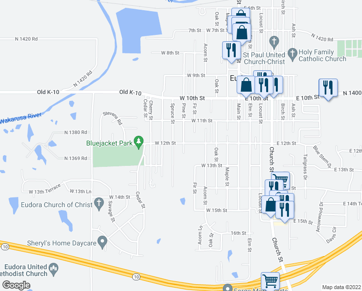 map of restaurants, bars, coffee shops, grocery stores, and more near 1201 Pine Street in Eudora