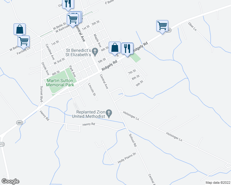 map of restaurants, bars, coffee shops, grocery stores, and more near 4 Oakview Court in Ridgely