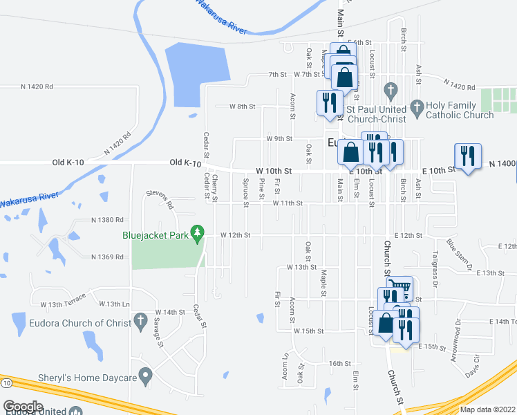 map of restaurants, bars, coffee shops, grocery stores, and more near 1109 Pine Street in Eudora
