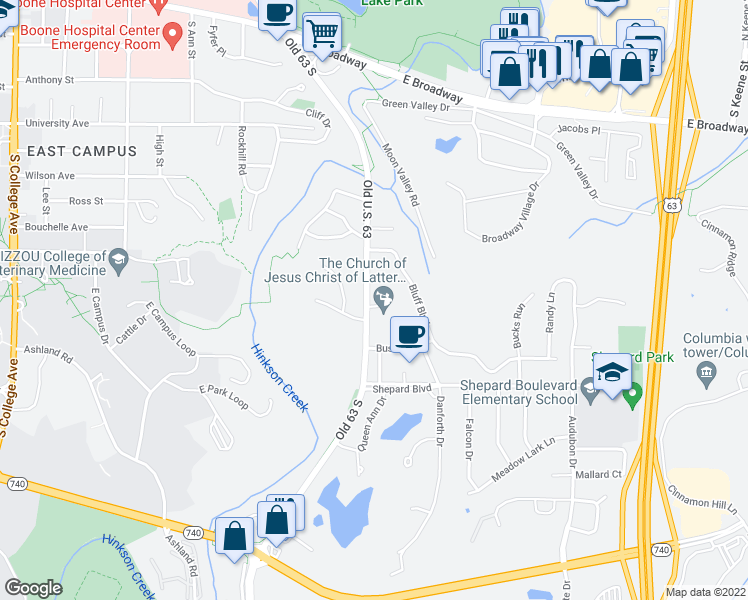 map of restaurants, bars, coffee shops, grocery stores, and more near 2203 Oakwood Drive in Columbia