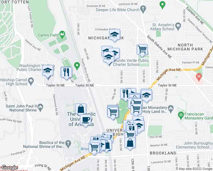 map of restaurants, bars, coffee shops, grocery stores, and more near Taylor Street Northeast & 8th Street Northeast in Washington