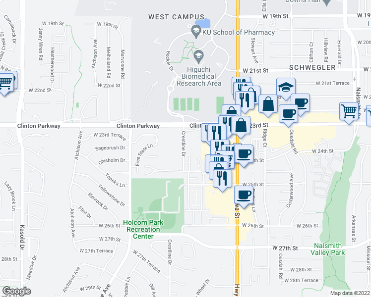 map of restaurants, bars, coffee shops, grocery stores, and more near 2400 Crestline Drive in Lawrence