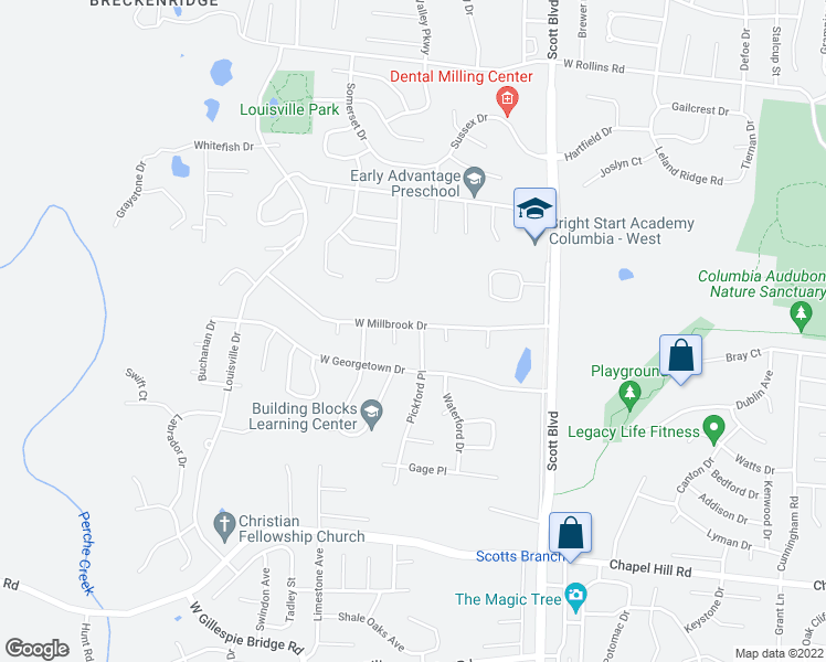 map of restaurants, bars, coffee shops, grocery stores, and more near 4600 West Millbrook Drive in Columbia
