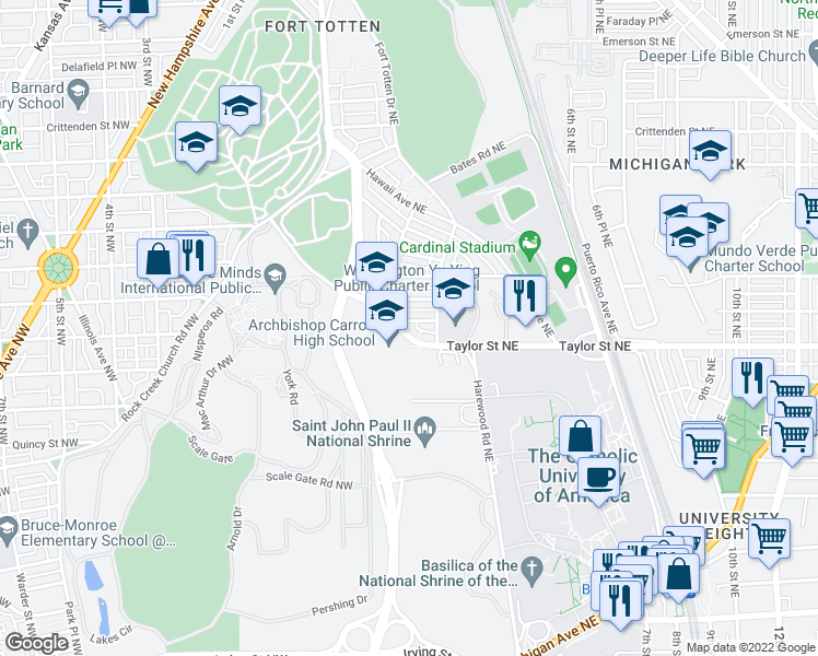 map of restaurants, bars, coffee shops, grocery stores, and more near 100 Fort Drive Northeast in Washington