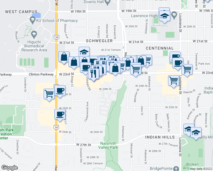 map of restaurants, bars, coffee shops, grocery stores, and more near 1501 Eddingham Drive in Lawrence