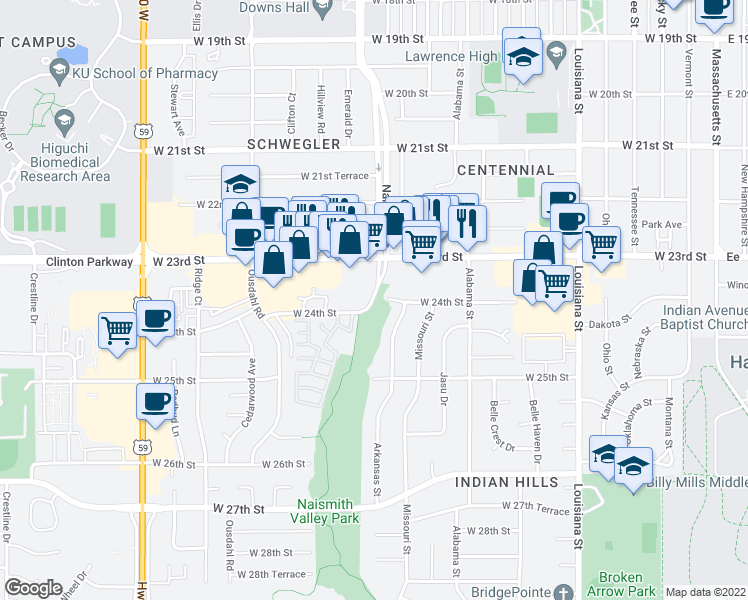 map of restaurants, bars, coffee shops, grocery stores, and more near 636 Massachusetts Street in Lawrence