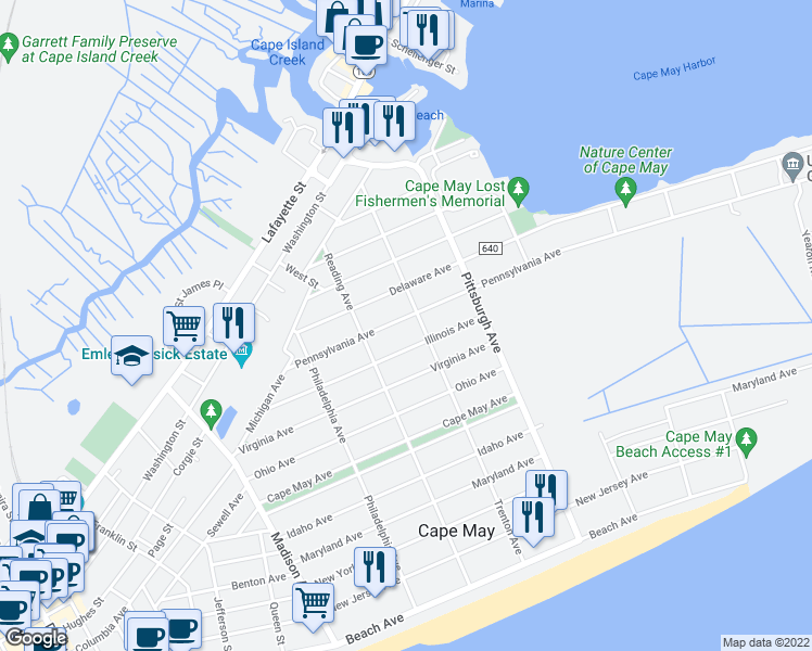 map of restaurants, bars, coffee shops, grocery stores, and more near 1250 Pennsylvania Avenue in Cape May
