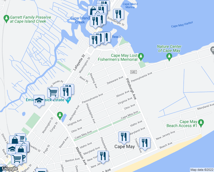 map of restaurants, bars, coffee shops, grocery stores, and more near 1242 Delaware Avenue in Cape May