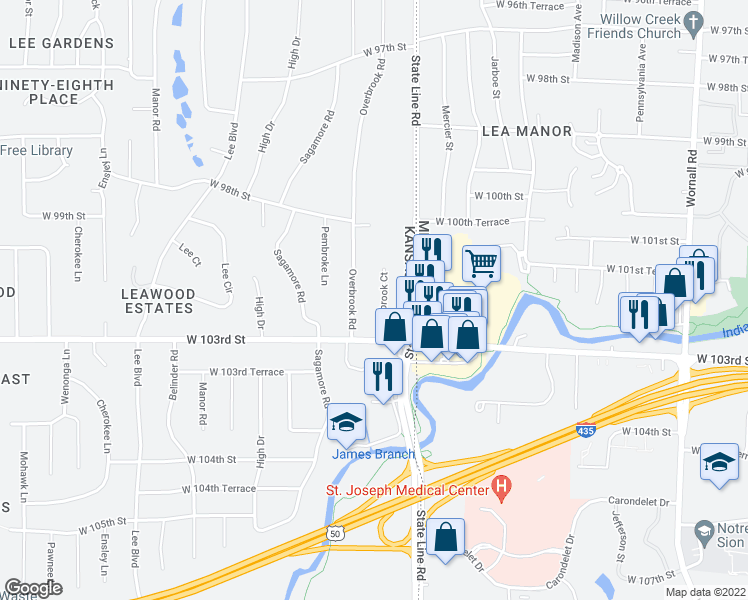map of restaurants, bars, coffee shops, grocery stores, and more near 9832 Overbrook Court in Leawood