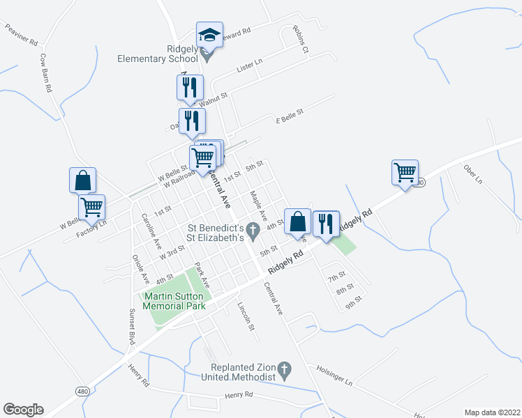 map of restaurants, bars, coffee shops, grocery stores, and more near Maple Avenue in Ridgely