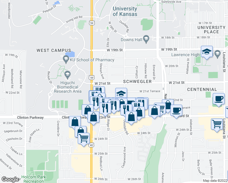 map of restaurants, bars, coffee shops, grocery stores, and more near 21 in Merriam
