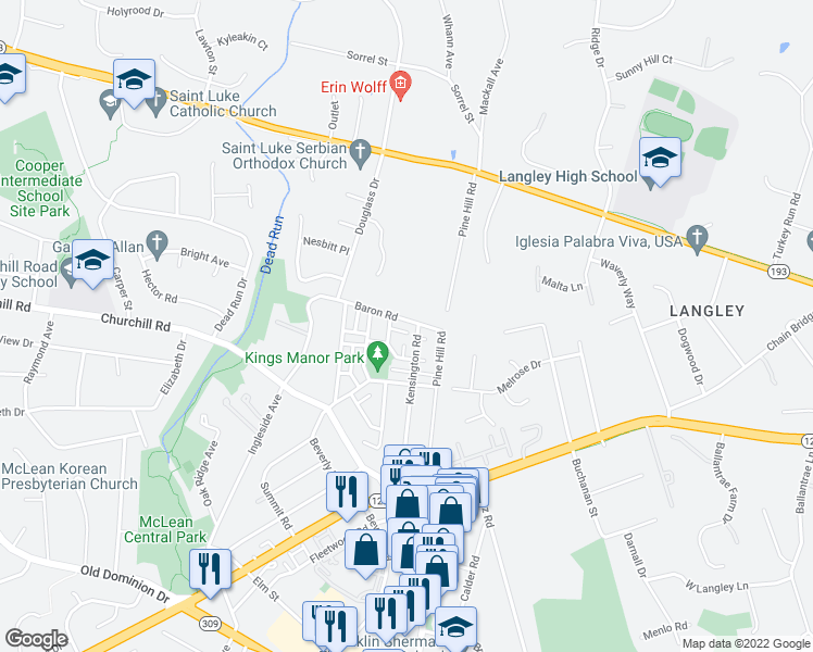 map of restaurants, bars, coffee shops, grocery stores, and more near 6727 Baron Road in McLean