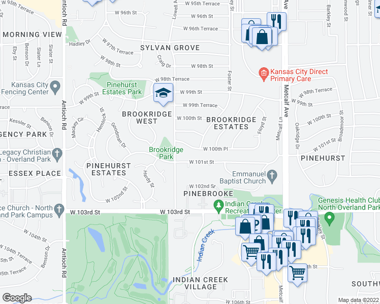 map of restaurants, bars, coffee shops, grocery stores, and more near 7713 West 100th Place in Overland Park