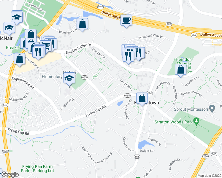 map of restaurants, bars, coffee shops, grocery stores, and more near 13136 Marcey Creek Road in Herndon