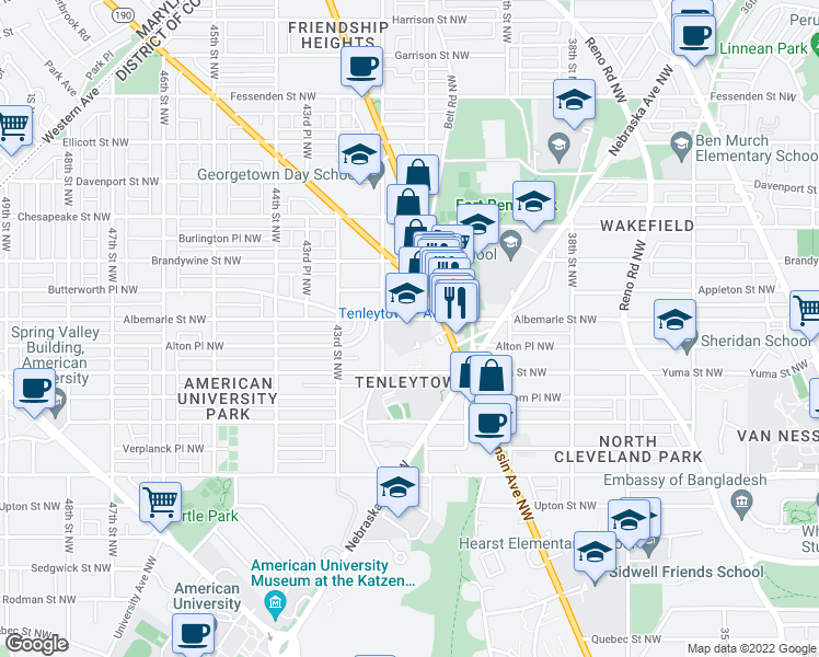 map of restaurants, bars, coffee shops, grocery stores, and more near 4130 Albemarle Street Northwest in Washington