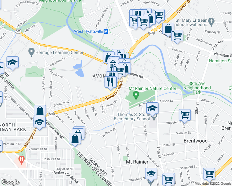 map of restaurants, bars, coffee shops, grocery stores, and more near 3040-3048 Queens Chapel Road in Hyattsville