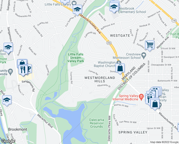 map of restaurants, bars, coffee shops, grocery stores, and more near 5316 Carvel Road in Bethesda