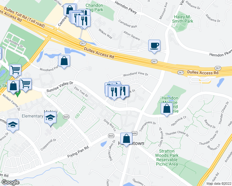 map of restaurants, bars, coffee shops, grocery stores, and more near 2300 Woodland Crossing Drive in Herndon