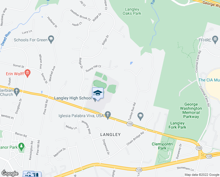 map of restaurants, bars, coffee shops, grocery stores, and more near Langley HS Track in McLean