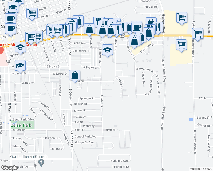 map of restaurants, bars, coffee shops, grocery stores, and more near 950 East Oak Street in Seymour