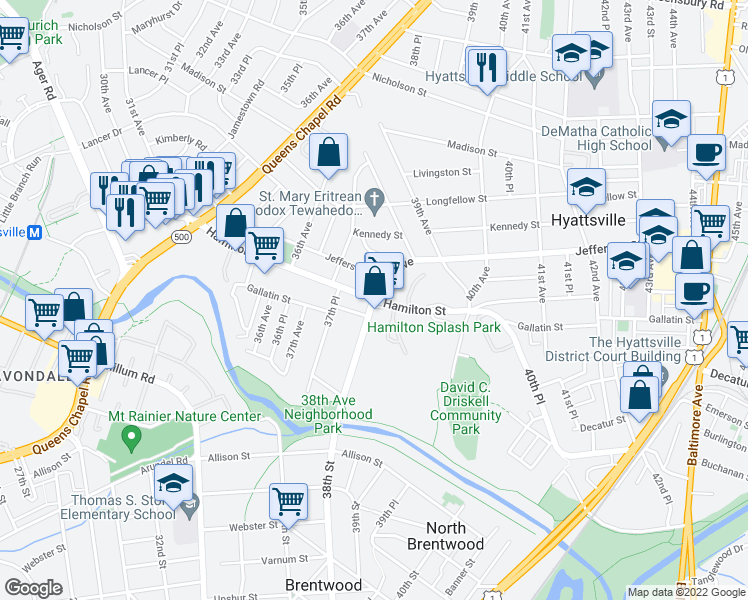 map of restaurants, bars, coffee shops, grocery stores, and more near 3801 Hamilton Street in Hyattsville