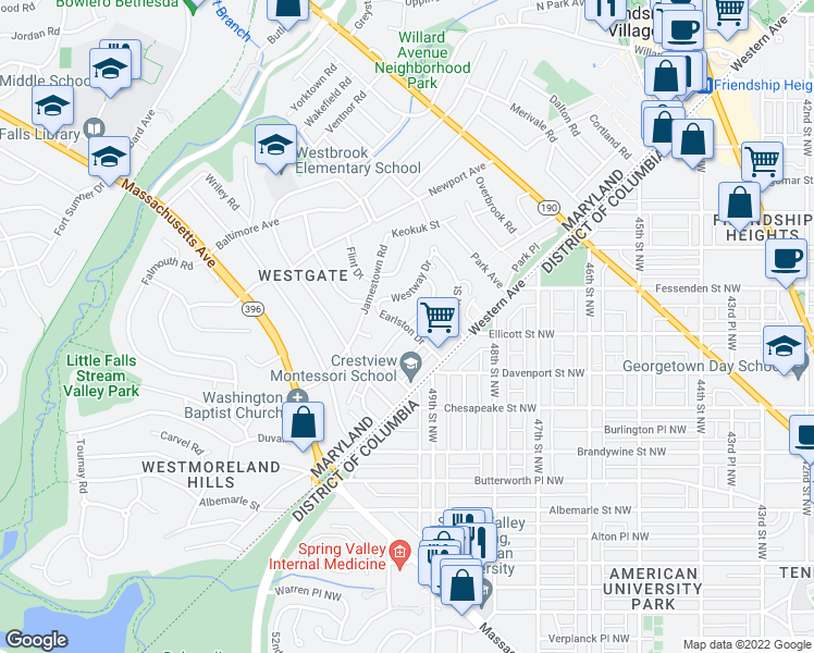 map of restaurants, bars, coffee shops, grocery stores, and more near Earlston Dr & Bayard Blvd in Bethesda