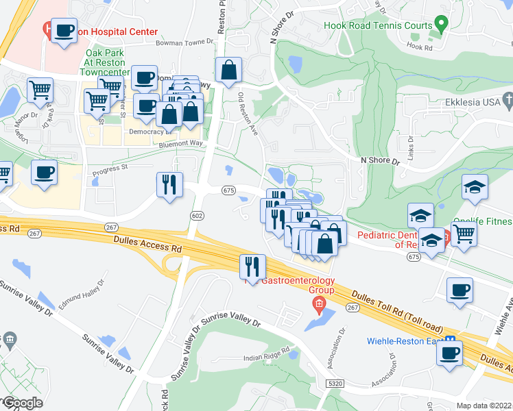 map of restaurants, bars, coffee shops, grocery stores, and more near 1897 Oracle Way in Reston